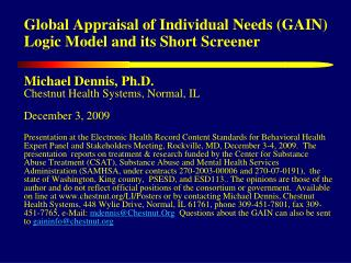 Global Appraisal of Individual Needs (GAIN) Logic Model and its Short Screener