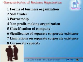 1 Forms of business organization 2 Sole trader 3 Partnership 4 Non profit-making organization 5 Classification of compan