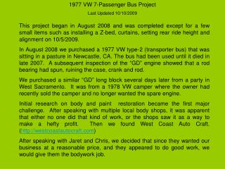 1977 VW 7-Passenger Bus Project  Last Updated 10/10/2009
