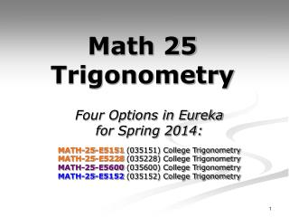 Math 25 Trigonometry