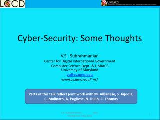 Cyber-Security: Some Thoughts