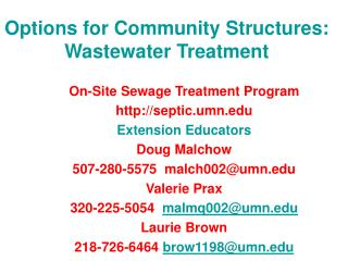 Options for Community Structures: Wastewater Treatment