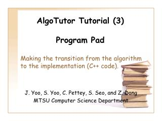 AlgoTutor Tutorial (3) Program Pad