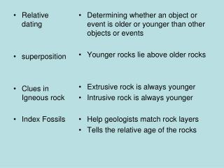 Relative dating superposition Clues in Igneous rock Index Fossils