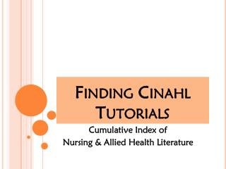 Finding Cinahl Tutorials