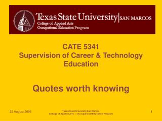 CATE 5341 Supervision of Career & Technology Education