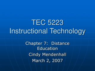 TEC 5223 Instructional Technology