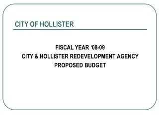 CITY OF HOLLISTER
