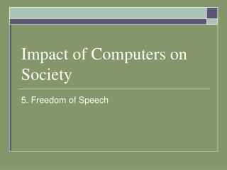 Impact of Computers on Society