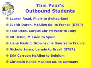 This Year's  Outbound Students
