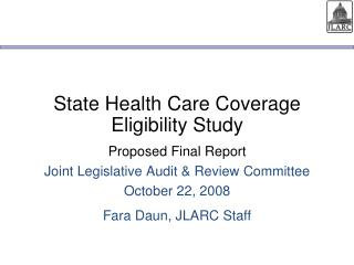 State Health Care Coverage Eligibility Study