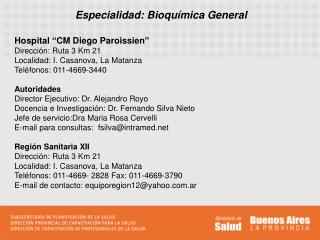 Especialidad: Bioquímica General