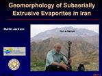 Geomorphology of Subaerially Extrusive Evaporites in Iran