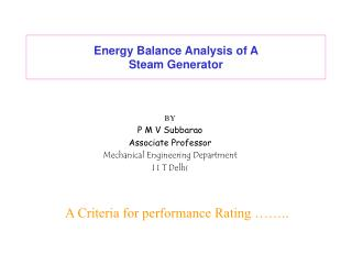 Energy Balance Analysis of A  Steam Generator