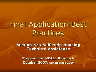 Final Application Best Practices