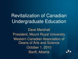Revitalization of Canadian Undergraduate Education