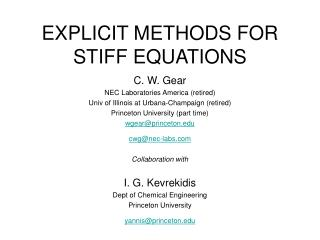 EXPLICIT METHODS FOR STIFF EQUATIONS