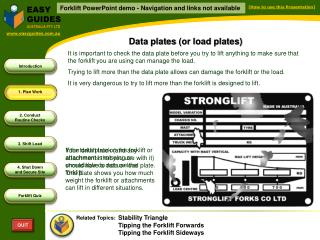 Data plates (or load plates)