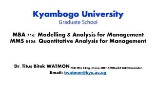 Dr . Titus Bitek WATMON PhD MSc B.Eng. (Hons) MIET AMIMechE IAENG member