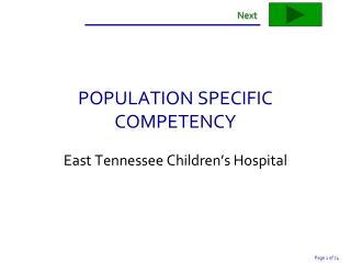 POPULATION SPECIFIC COMPETENCY