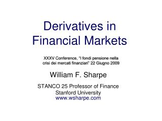 Derivatives in  Financial Markets