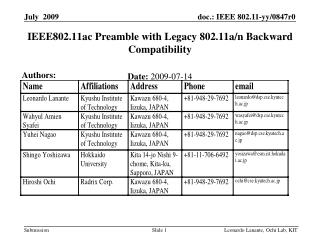 IEEE802.11ac Preamble with Legacy 802.11a/n Backward Compatibility