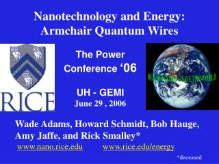 Nanotechnology and Energy: Armchair Quantum Wires