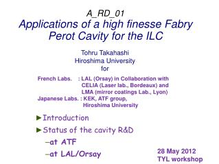A_RD_01 Applications of a high finesse  Fabry  Perot Cavity for the ILC