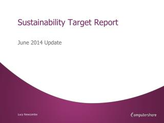 Sustainability Target Report