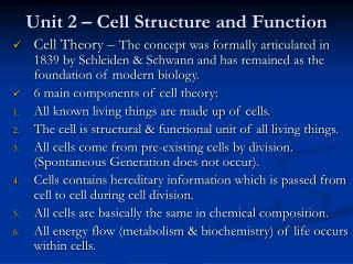 Unit 2 – Cell Structure and Function
