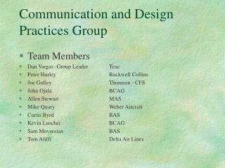 Communication and Design Practices Group