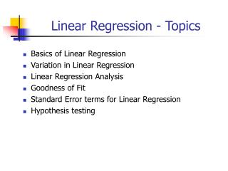 Linear Regression - Topics