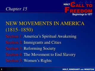 NEW MOVEMENTS IN AMERICA (1815–1850)