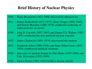 Brief History of Nuclear Physics