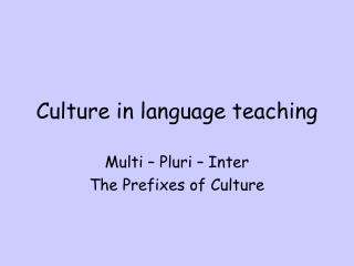 Culture in language teaching