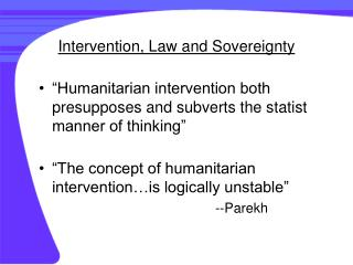 Intervention, Law and Sovereignty