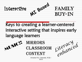 Keys to creating a learner-centered interactive setting that inspires early language learners
