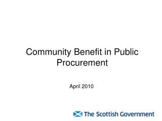 Community Benefit in Public Procurement