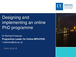 Designing and implementing an online PhD programme