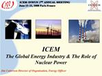 Presentation Contents:  Overview of Global Energy  Electric Power Uranium Mining ICEM Electric Power Activities in 2007-
