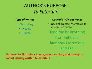 AUTHOR'S PURPOSE:  To Entertain