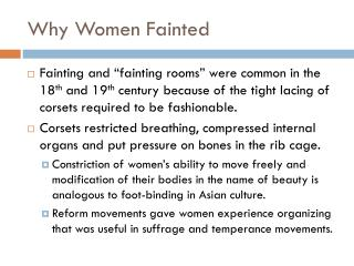Why Women Fainted