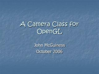 A Camera Class for OpenGL