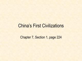 China s First Civilizations