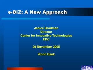 e-BIZ: A New Approach