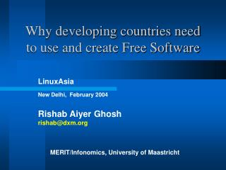 Why developing countries need to use and create Free Software