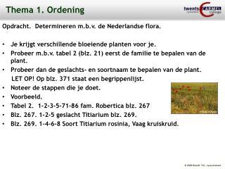 Thema 1. Ordening