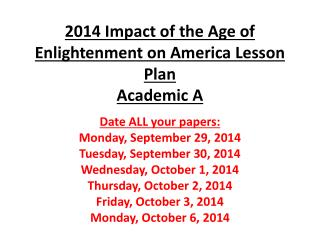 2014 Impact of the Age of Enlightenment on America Lesson  Plan Academic A