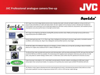 JVC Professional analogue camera line-up