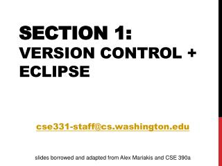 Section 1: Version Control + Eclipse